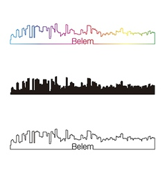 Belem skyline linear style with rainbow vector image