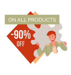 Best sale on all products banner with young man vector