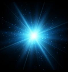blue glitter star burst light effect vector image