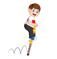 Boy is playing with jumping stick vector