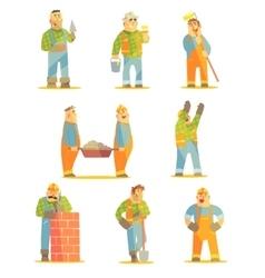 Builder Professionals At Construction Site Set vector image