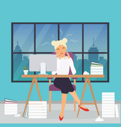 business woman working at his office desk stress vector image