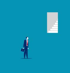 Businessman look door too up to reach concept vector
