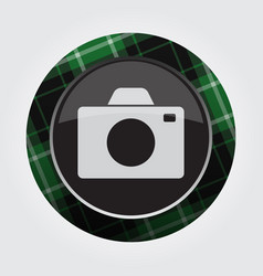 Button with green black tartan - camera icon vector