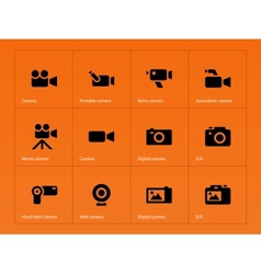 Camera icons on orange background vector