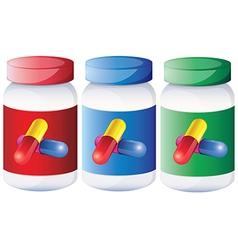 Capsules inside the medical bottles vector