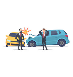 Car accident damaged autos angry scared men vector