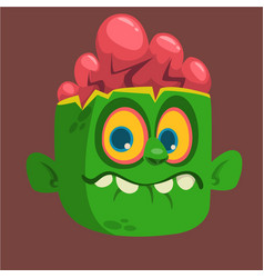 Cartoon cute happy zombie head vector