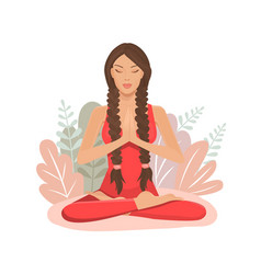 cartoon girl in yoga lotus practices meditation vector image