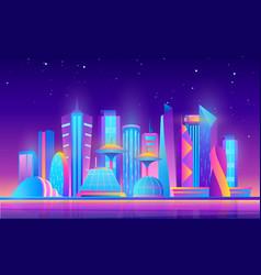 Cartoon purple future modern cityscape with town vector