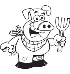 Cartoon smiling pig holding a fork vector