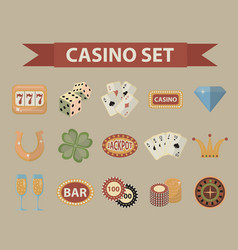 casino icons vintage style gambling set isolated vector image