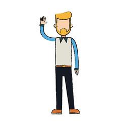 Character man waving hand people image vector