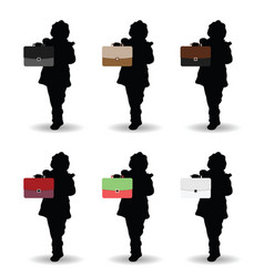 child silhouette hold briefcase in different color vector image