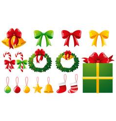 christmas ornaments and present box vector image