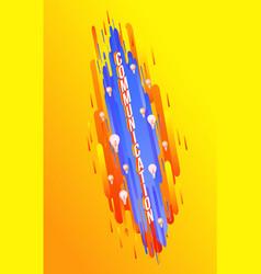 communication isometric text design on gradient vector image