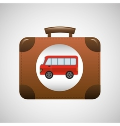 Concept travel suitcase vintage with bus design vector