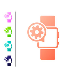 Coral smartwatch and gear icon isolated on white vector