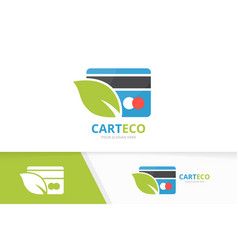 Credit card and leaf logo combination gift vector