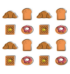 Croissant waffle donut bread food related pattern vector