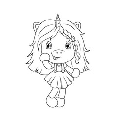 Cute baby unicorn coloring page for girls vector