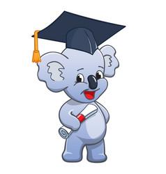 Cute cartoon koala graduating vector