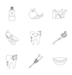 Dental care set icons in outline style Big vector image