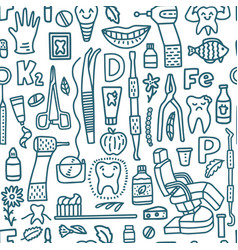 Dental pattern with dental instruments and teeth vector