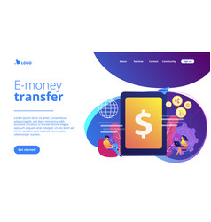 Digital currency concept landing page vector