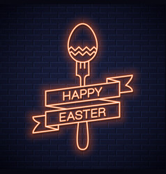easter neon menu happy easter neon fork vector image