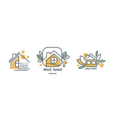 eco home or logo design with green leaf vector image