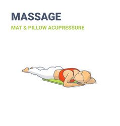 Female lying on her stomach on an acupressure mat vector