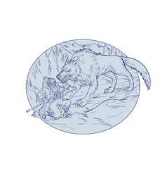 Fenrir attacking norse god odin drawing color vector
