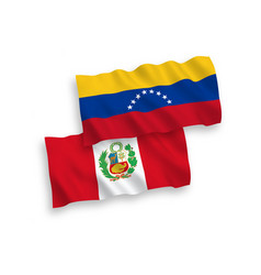 Flags venezuela and peru on a white background vector