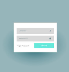 flat color login form ui template in white vector image