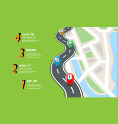 Flat color style highway road infographic street vector