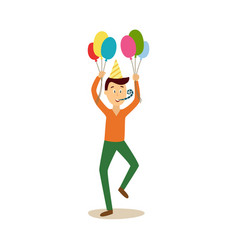 flat man in party hat whistling air vector image