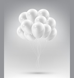 flying realistic glossy white balloons vector image