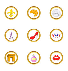 france tourist icon set cartoon style vector image