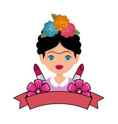 Frida kahlo with lipsticks makeup vector