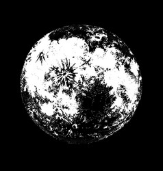 full moon against hand drawn on black background vector image