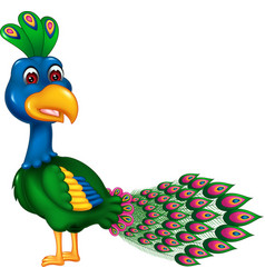 Funny green blue peacock cartoon vector