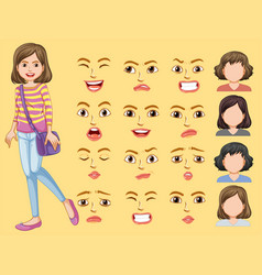 Girl with different facial expression vector