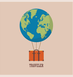 Globe hot air balloon with travel bag vector