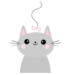 gray cat head face looking at pink bow hanging on vector image