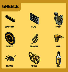 Greece color outline isometric icons vector