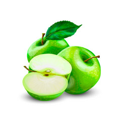 green apples slice vector image