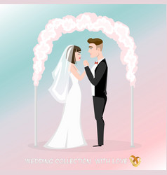groom with bride under the wedding arch vector image