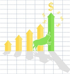 Growth chart bull trend on stock market vector