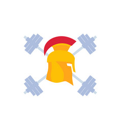 Gym logo emblem with spartan helmet vector
